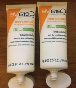 2 CeraVe Sunscreen FACE LOTION 2.5oz inVisibleZinc SPF 30 ex