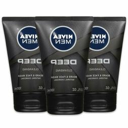 NIVEA Men DEEP Cleansing Beard & Face Wash - With Natural Ch