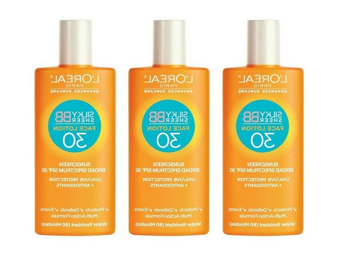 3 L'Oreal Sunscreen Silky Sheer Face Lotion SPF or
