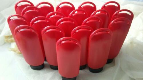 6 Oz Bottle Lot of 20 New Empty Red Bottles Black Tottle Cap