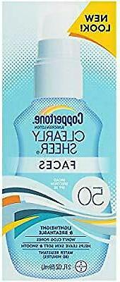 Coppertone Clearly Sheer Face Sunscreen Lotion SPF 50 2.0 OZ