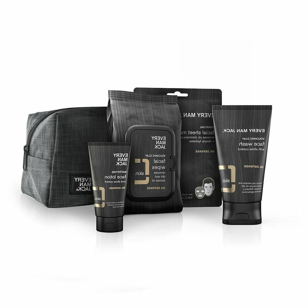 oil defense face set lotion wash wipes